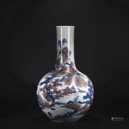 Qing Dynasty blue and purple globular shape vase