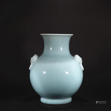 Qing Dynasty sky blue glaze animal head appliqueh goblet