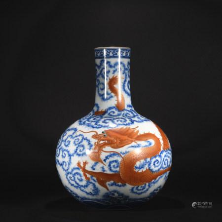 Qing Dynasty blue and white reddish gold-painted globular shape vase