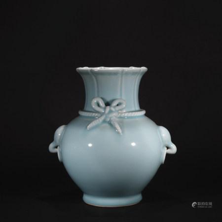 Qing Dynasty Sky blue glaze flowers opening goblet