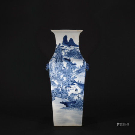 Qing Dynasty blue and white landscape square vase