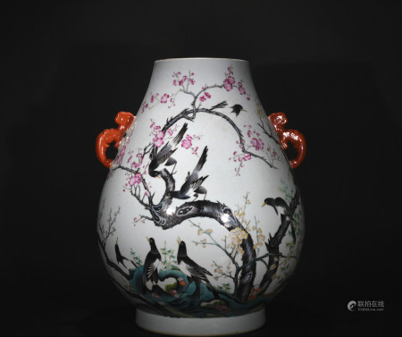 Emperor jiaqing pastel dragon ear goblet with the magpie ascends the plum design