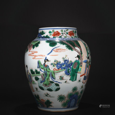 Ming Dynasty five-coloured figure pot