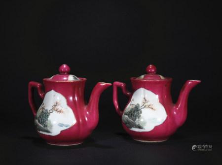 Qing Dynasty carmine red medallion pot*1 pair