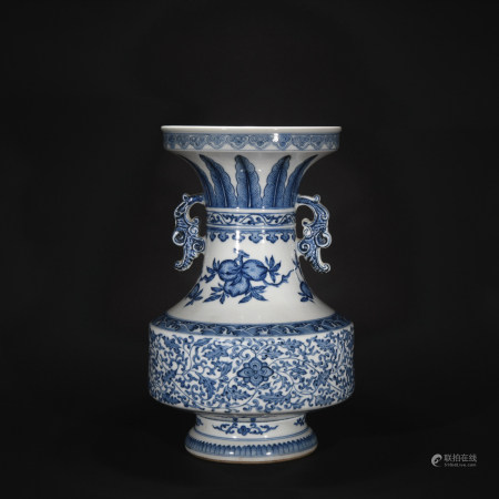 Qing Dynasty blue and white vase with double ear