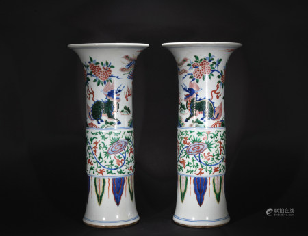 Ming Dynasty five-coloured vase*1pair