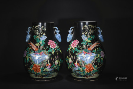 Qing Dynasty tri-colored with ink base deerhead goblet*1pair