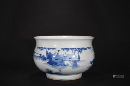 Ming Dynasty blue-and-white figure incense burner
