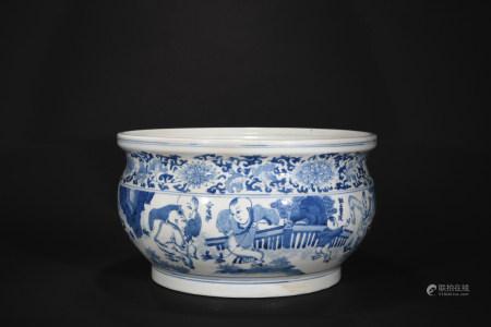Ming Dynasty Jia Jing period blue-and-white figure incense burner