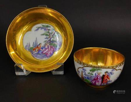 19TH C. SWISS PORCELAIN CUP AND SACER