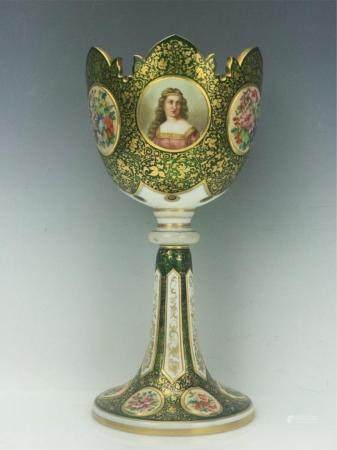 A LARGE BOHEMIAN GLASS FOOTED BOWL