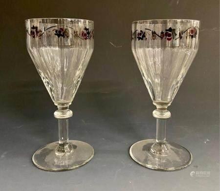 A PAIR OF ART DECO ENAMELED WINE GLASSES