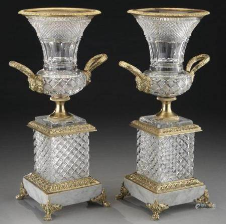 A LARGE PAIR OF DORE BRONZE AND CUT CRYSTAL VASES