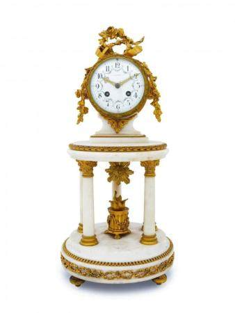 19TH C. DORE BRONZE MOUNTED FRENCH MARBLE CLOCK