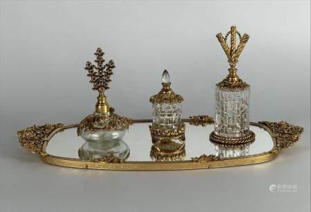 ORMOLU AND GLASS VANITY SET