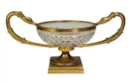EMPIRE DORE BRONZE AND BACCARAT CRYSTAL CENTERPIECE