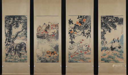 Four Pages Of Chinese Scroll Painting By Xu Beihong