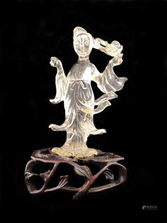 Antique Chinese carved rock crystal figure