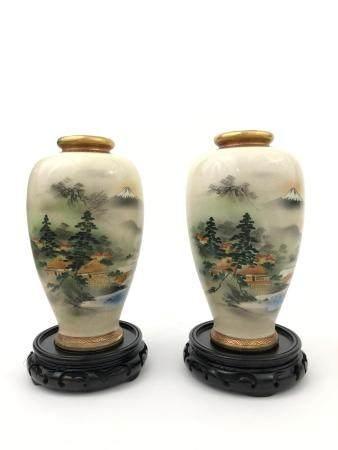 Pair of Japanese Satsuma Porcelain Vases