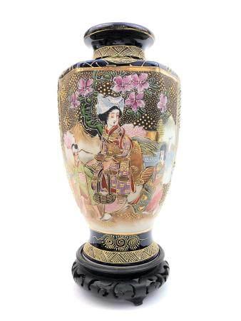 Japanese Satsuma Style Hexagonal Vase. Signed