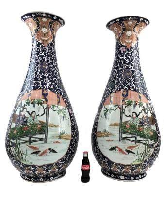 Huge Chinese pair of porcelain vases