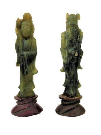 Pair of Two Chinese Jade Sculptures