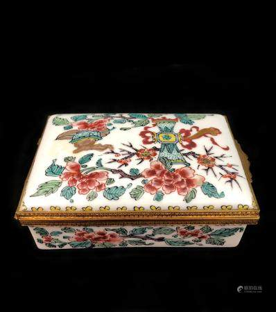 Chinese Porcelain and Bronze Box Made in France