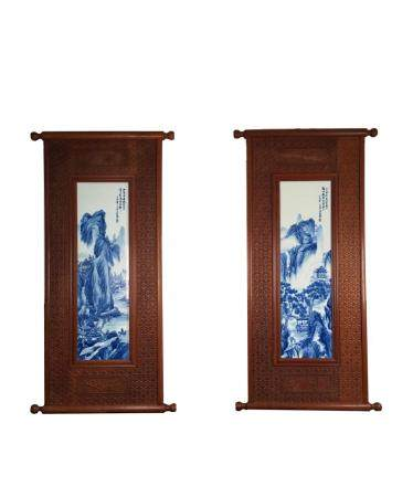 Pair of Chinese Blue and White Framed Porcelain Panels
