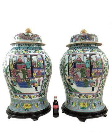 Huge Chinese pair of porcelain lided vases