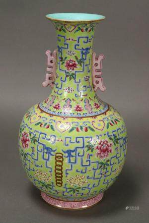 Good Chinese Twin Handled Porcelain Vase,