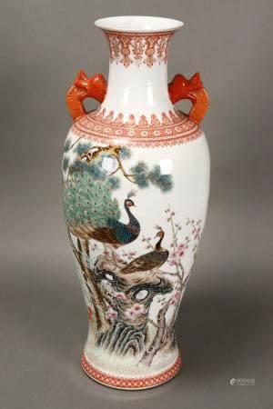 Large Chinese Twin Handled Porcelain Vase,