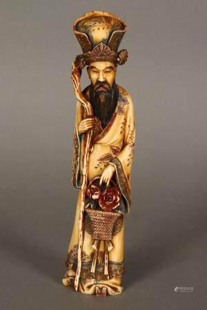 Good Chinese Qing Dynasty Carved Ivory Figure,