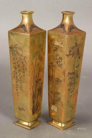 Good Pair of Japanese Bronze Inlaid Vases,