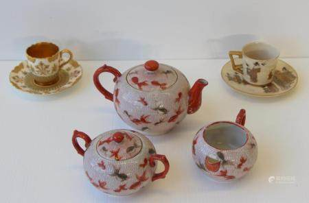 Japanese Kutani T Set Together With 2 Cups