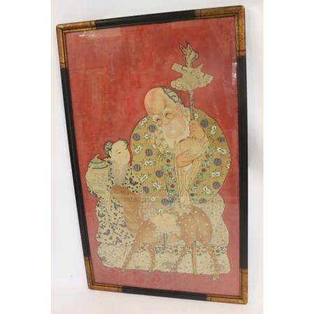 Large Antique Figural Chinese Painting On Fabric