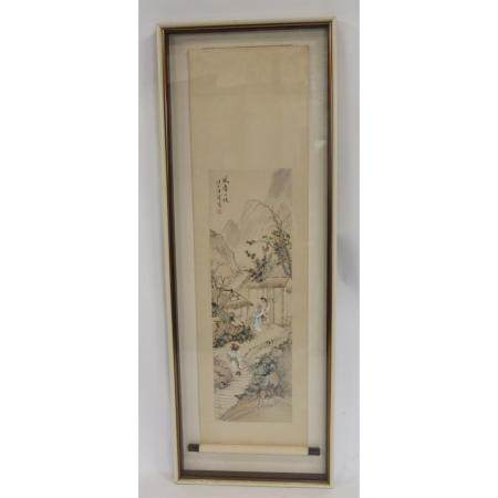 Signed And Framed Chinese Scroll Painting.