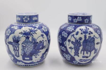 Near Matched Pair of Antique Chinese Blue