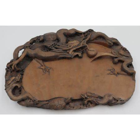 Chinese Carved Dragon Duan Inkstone.