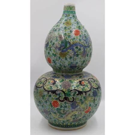 Chinese Famille Verte Double Gourd Vase.