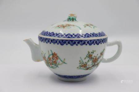 Signed Famille Rose Enamel Decorated Teapot.