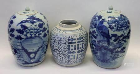 3 Antique Chinese Porcelain Ginger Jars.