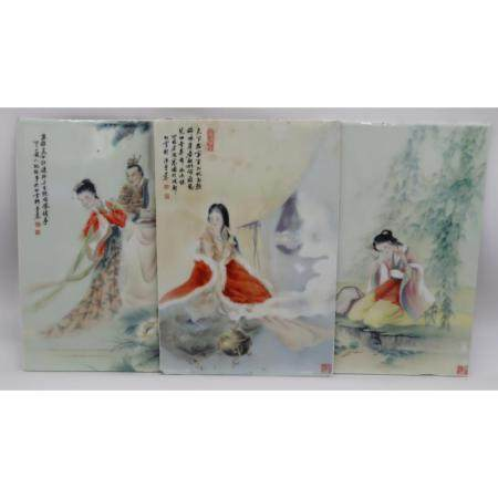 (3) Signed Chinese Porcelain Plaques.