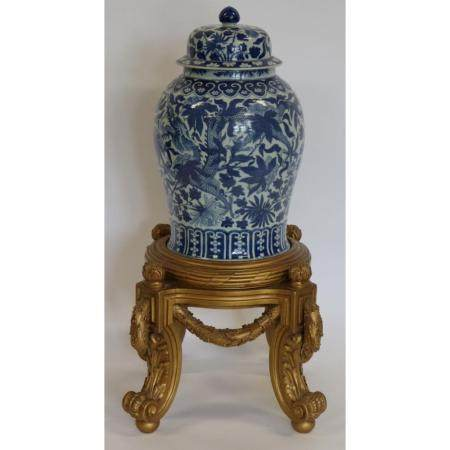 Large Blue and White Ginger Jar on Gilt Stand.
