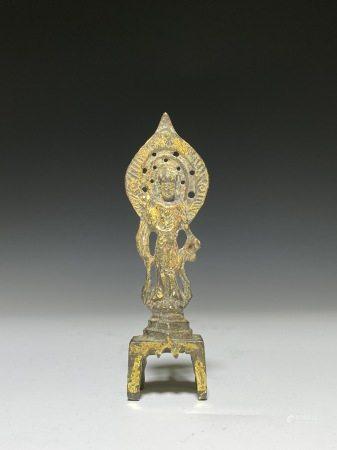 隋唐 銅鎏金方座觀音像