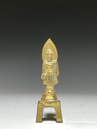 唐 銅鎏金方座如來立像