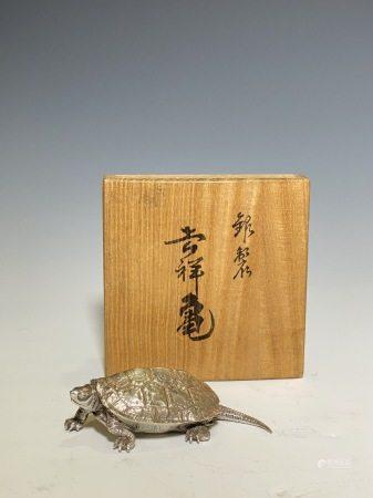 瑞峰作 銀製吉祥龜