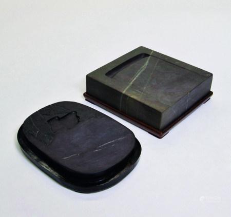 清 端石荷葉硯、方硯二件一組