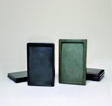 清 綠端石長方硯、歙石羅紋長方硯二件一組