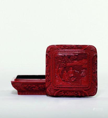 清乾隆 剔紅和合如意方盒