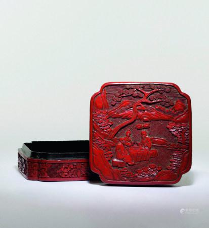 十九世紀 剔紅樹下高仕圖萎角盒